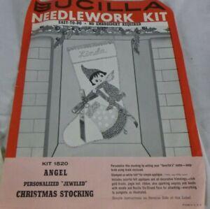 Vtg 60s Bucilla Jeweled Felt Christmas Stocking Angel Pixie #1520 RARE