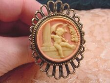 (CHAT-S55-1) HATPIN CHERUB Angel parasol Cupid pink CAMEO hat Pin pins JEWELRY