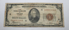 Uncommon 1929 $20 National Currency F R B of Chicago Brown Seal Currency Note