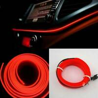 2M LED Red Car Interior Decor Atmosphere EL Wire Strip Light Lamp Car Accessory@
