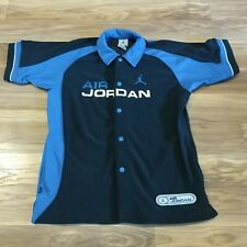 Air Jordan Retro Button Warm Up Shirt Size SMALL Black Blue Embroidered Stars