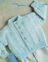 "Textured Cable  Button Up Baby Cardigan 16 - 22""  DK Knitting Pattern"
