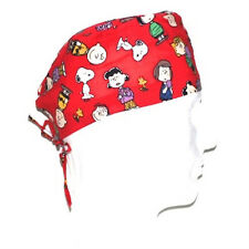 Peanuts Gang theme on red scrub hat