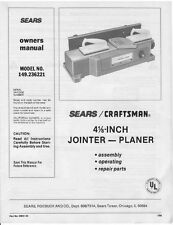 "1986 Craftsman 149.236221  4-1/8"" Jointer-Planer Owner's Manual Instructions"