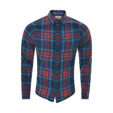 Hollister Mens Shirt Size M Red-Blue Plaid Button Down Long Sleeve Top Authentic