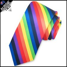 Mens Rainbow Strap Tie Plain Wedding Novelty Suit Party Accessories Costume