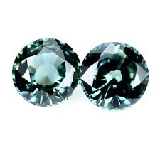 Certified Natural 4.6mm Matching Teal Sapphire Pair 1.07ct Round Cut VVS Clarity