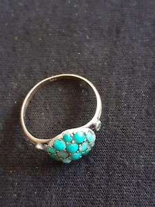 Antique Hallmarked 9ct 375 Yellow GOLD Ring with Turquoise 2.57g 18mm Size O P