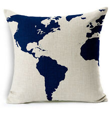 World Map Home Decor Room Vintage Cotton Linen Cushion Cover Pillowcase Soft 18""