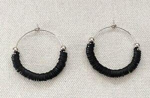 Handmade Ladies, Black, Polymer Clay, Hooped Silver Earrings
