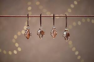 4 Antique Rust Orange Leaf Hanging Baubles, Rustic Christmas Decor Bhara Nkuku