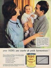 PUBLICITE ADVERTISING 094 1963 NIDO une courbe de poids harmonieuse NESTLE lait
