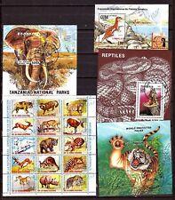 ZY118/76 TOUS PAYS, BLOCS ET PLANCHE : animaux sauvages,serpents,tigre,éléphant,
