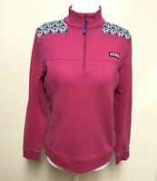 Vineyard Vines Womens Sm Half Zip Sweater Cotton Embroidered Patterned Shoulder