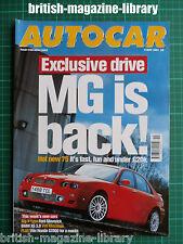 Autocar 9/5/2001 MG ZT 190 Road Test: BMW X5 3.0i Jaguar X-type 3.0 Sport