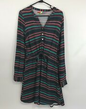 Modcloth Fervour Dress S Green Striped Roll Tab Sleeves Size Small