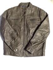 Calvin Klein Jacket Size M Grey Faux Leather Motorcycle Jacket. T6