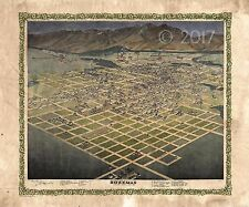 """Bird's Eye View Map of Bozeman MT 1898"" Lisa Middleton Enhanced Historical Map"