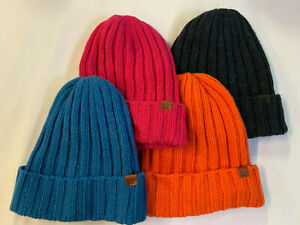 UNISEX ONE SIZE BICKLEY + MITCHELL RIBBED CABLE KNIT BEANIE HAT B+M LOGO EDGE