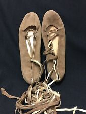 Ralph Lauren Brown Suede Leather Tie Lace Up Ballet Flats Made in Italy sz 8 FS
