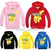 Kids Boys Girls Casual Pikachu Long Sleeve Children Hoodies Cartoon Clothes Coat