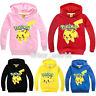 Kids Pikachu Long Sleeve Sweatshirt Hoodies Boys Girls Pokemon Top Coats Shirts