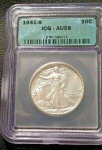 1941-S ICG AU58 Walking Liberty Half Dollar