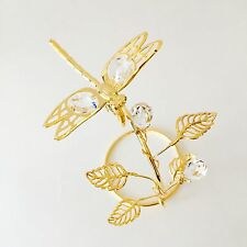 "SWAROVSKI CRYSTAL ELEMENTS ""Dragonfly"" FIGURINE - ON STAND 24KT GOLD PLATED"