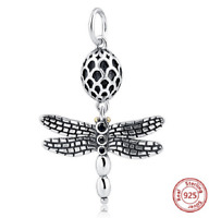 100% 925 Sterling Silver Dragonfly Pendant Beads Charm pandora