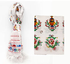 Tibetan Prayer Hada Khata White Scarf Eight Auspicious Symbol BUY 2 GEI 1 FREE