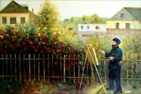 Renoir's Monet Painting in His Garden Repro, Hand Painted Oil Painting 24x36in