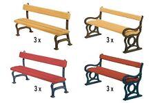 Faller 180443 HO 1/87 12 Bancs de parc - 12 Park benches