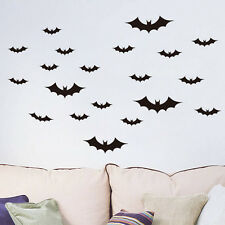 20 Pcs/Set Black Bats Halloween Decoration Wall Sticker Cartoon Removable FT