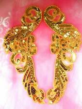 JB253 Sequin Applique Gold Beaded Mirror Pair Dance Patch 9""