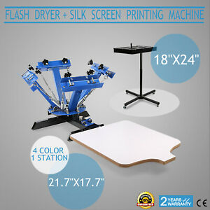 4 Color 1 Station Silk Screen Printing Machine Press Equipment Flash Dryer DIY