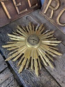 Antique Vintage Giltwood Sunburst Clock Gold Wooden French Spanish