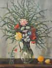 Original Vintage Antique Oil Painting Flowers Floral Still Life Soviet USSR Art