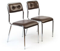 2 Stahlrohr-Küchen-Stühle TAVO SEVENTIES Stuhl midcentury modern chairs vintage