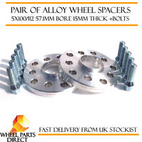 Wheel Spacers 15mm (2) Spacer Kit 5x112 57.1 +Bolts for Audi A4 [B6] 01-05