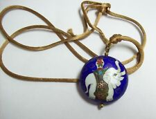 Vintage Blue Cloisonne ELEPHANT Pendant on Brown Silk Necklace