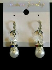 New Faux Pearl w/ Rhinestone Snowman Silver Earrings Last Minute Christmas Gift