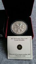 2007 Canada 20 Dollars Silver Coin Iridescent Crystal Snowflake box&COA