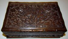 Antique Carved Hard Wood Jewelry Box Sliding Wood Face Locks/Unlocks Box