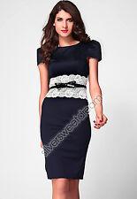 Vestido Mujer Elegante Noche Cinturón Chica Encaje Arco Formal Rodilla Barco