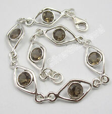 "925 Solid Silver Brown Smoky Quartz Semi Precious Gemstones Art Bracelet 7.7"""