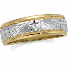 14k White & Yellow Gold CIRCLE CROSS Wedding Band Religious Ring Sz 7 FREE Ship