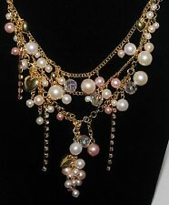 """FOREVER 21 Hearts Rhinestone Crystal Blush Pink Faux Pearls 18 - 21"""" Necklace"""
