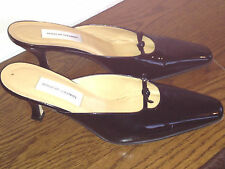 Bergdorf Goodman 7.5 Womens Patent Leather Black Mules Slides Shoes Italy 7 1/2