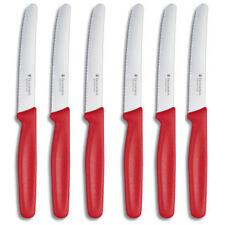 Victorinox Brötchenmesser/Tafelmesser mit Wellenschliff im 6er Set, rot