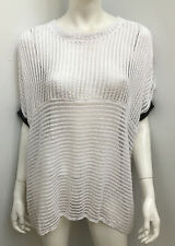 VALE and WARD Melbourne white sheer cotton open knit top ~ plus size 1/ 18+